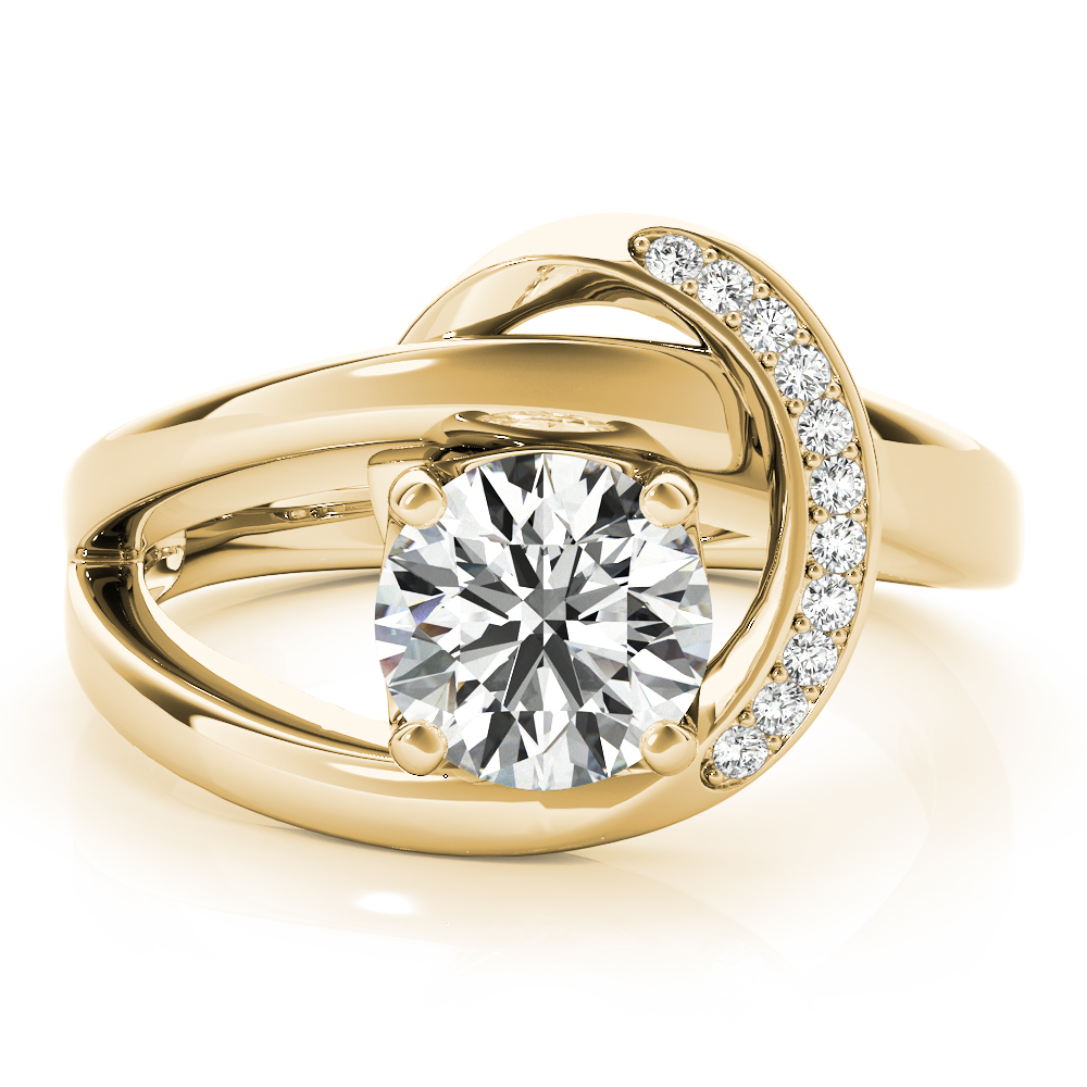 Crescent Engagement Ring Yellow Gold