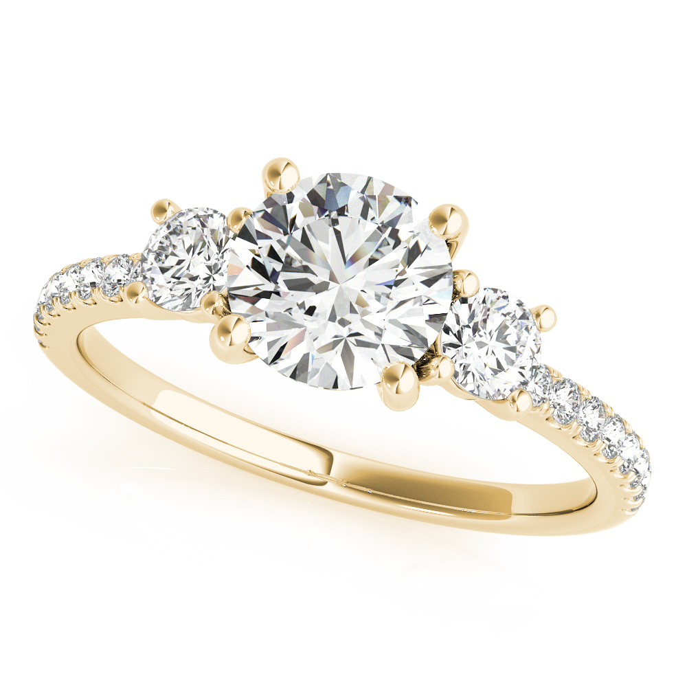 3 Stone Engagement Ring Diamond Band Yellow Gold