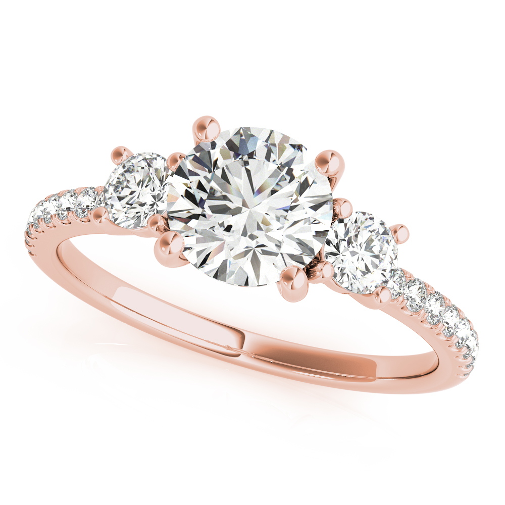 3 Stone Bridal Set Diamond Band Rose Gold