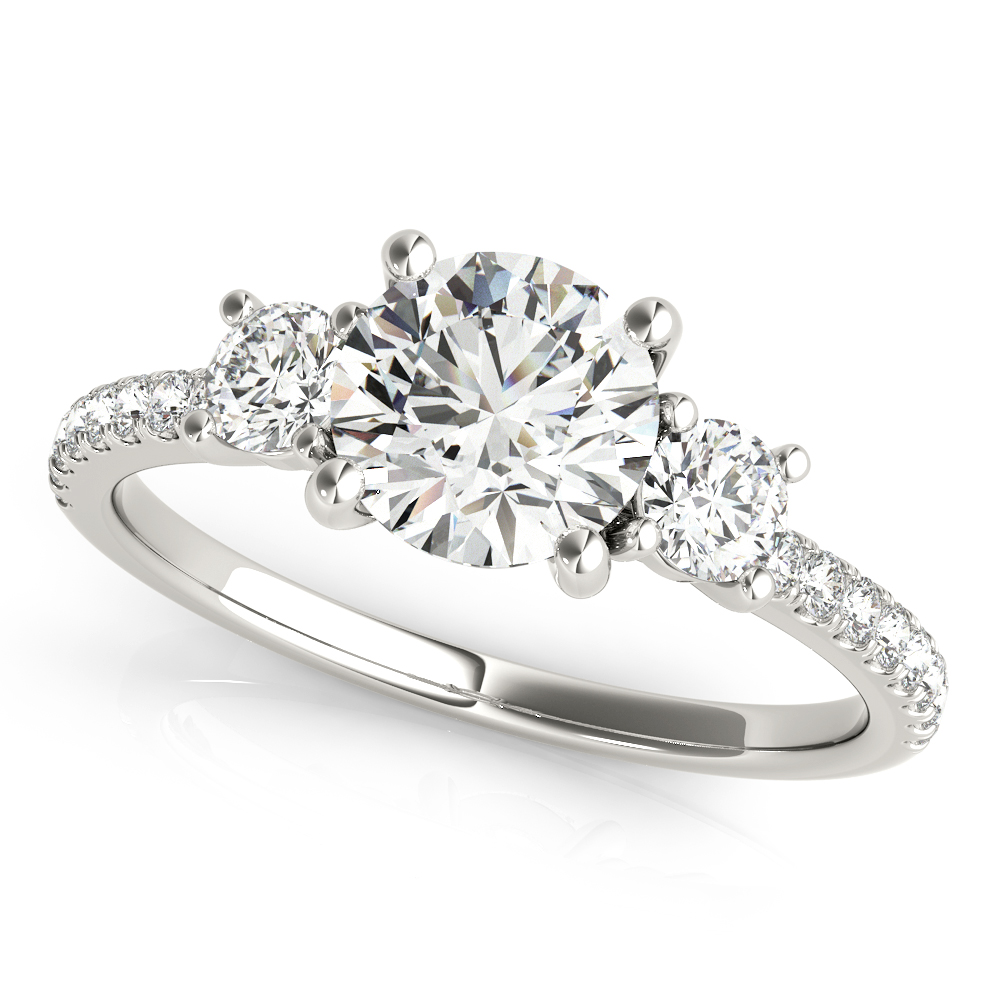 3 Stone Engagement Ring Diamond Band