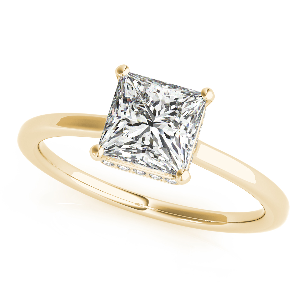 Princess Side Halo Solitaire Engagement Ring Yellow Gold