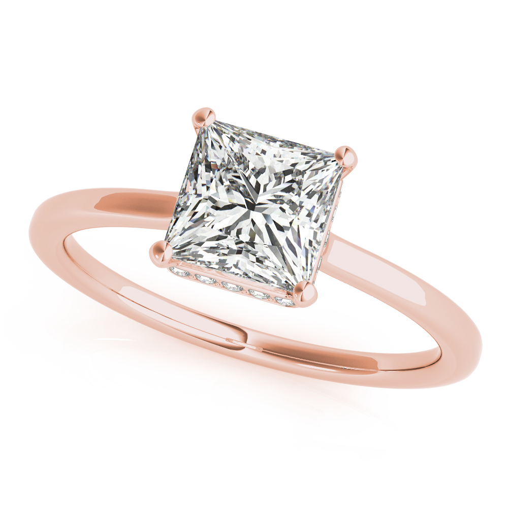 Princess Hidden Halo Solitaire Bridal Set Rose Gold
