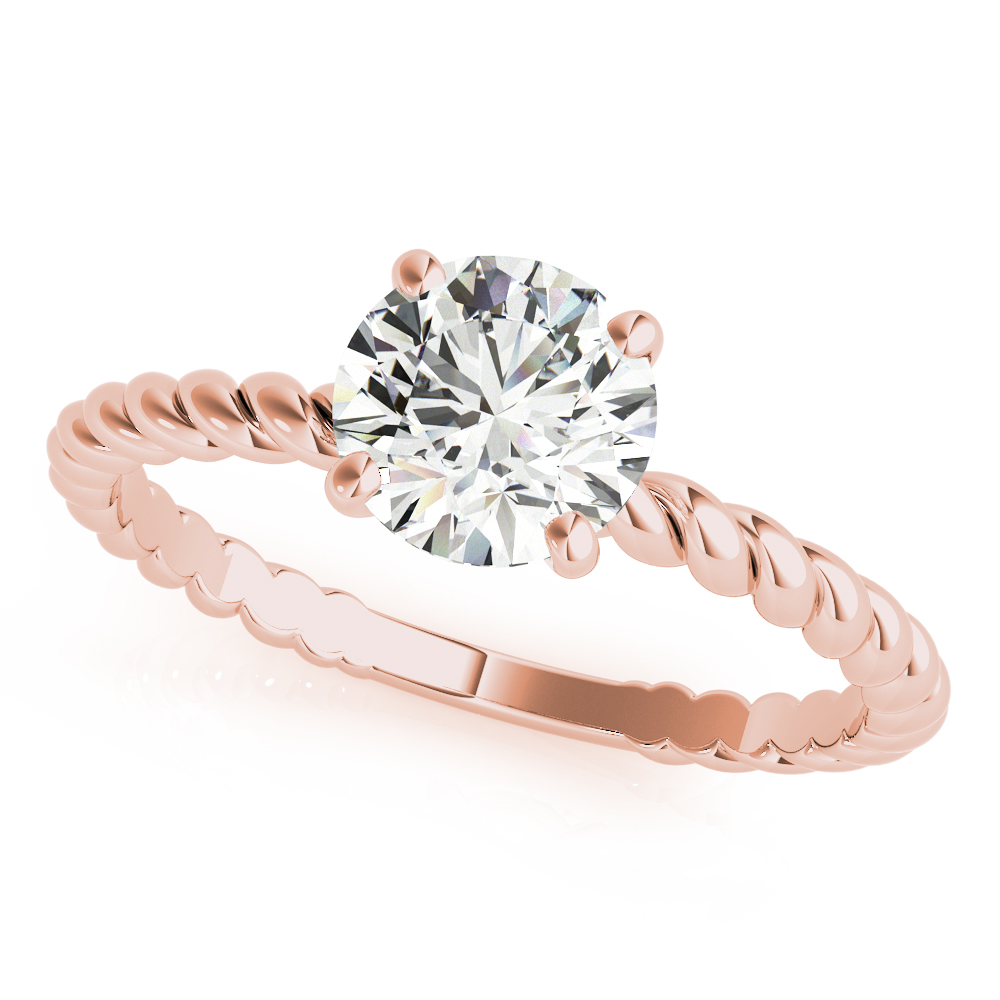Petite Rope Solitaire Bridal Set Rose Gold