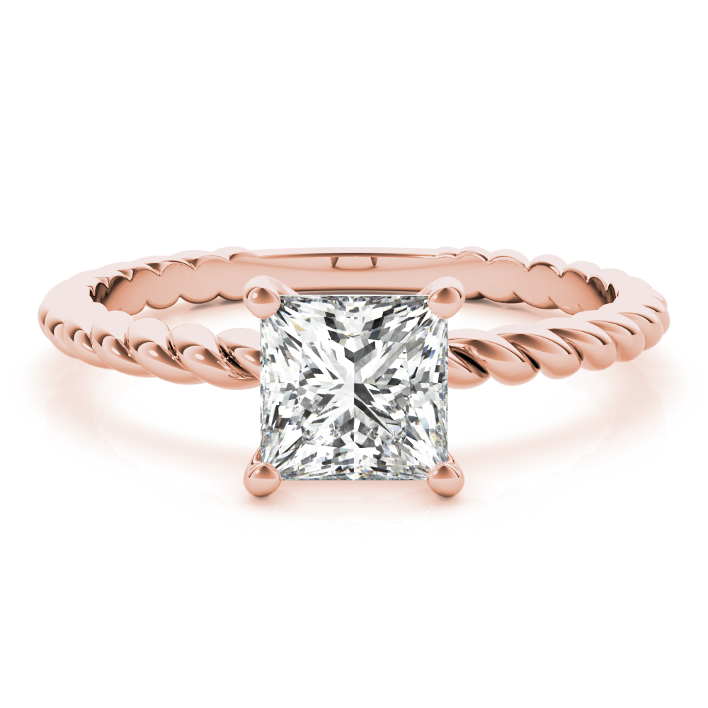 Petite Rope Solitaire Princess Engagement Ring Rose Gold