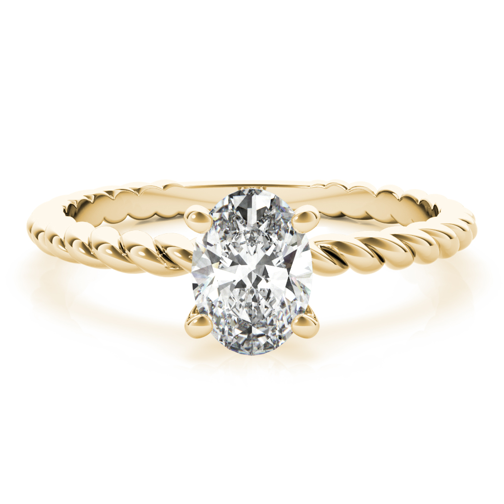 Petite Rope Solitaire Oval Engagement Ring Yellow Gold