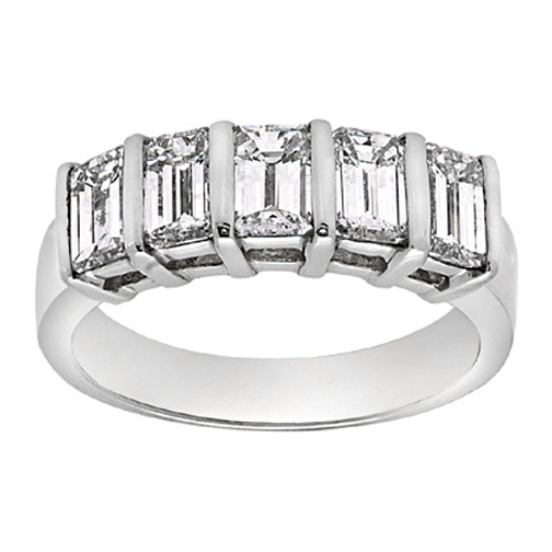 Five Stone Emerald Cut Diamond Wedding Band 1.25 tcw. In 14K White Gold