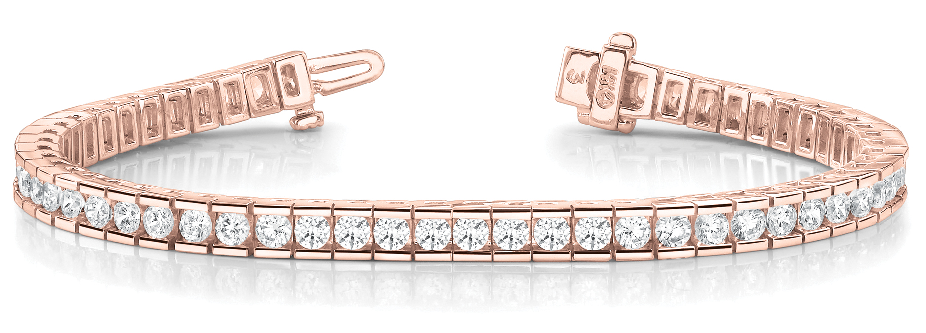 2.5 Carat Round Diamond Channel Bracelet Rose Gold