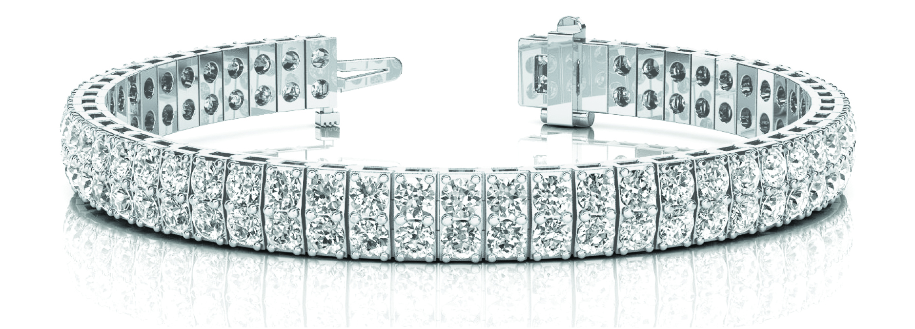 8 Carat Multi Row Diamond Platinum Bracelet