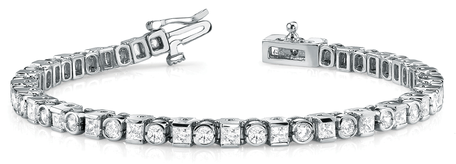 4.05 Ct Round & Princess Diamond Bar and Bezel Tennis Bracelet