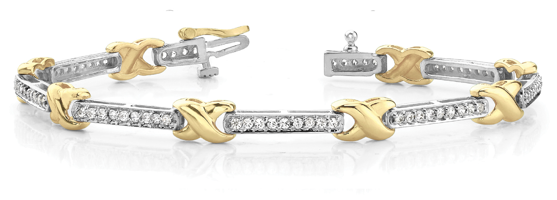 Watch Link Bracelet Channel Diamonds 1.4 CT. Yellow Gold