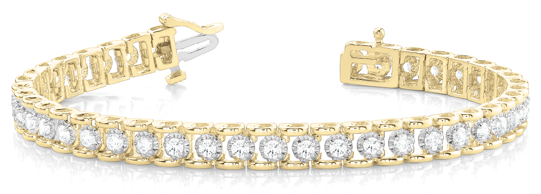 1 Carat Round Diamond Tennis Bracelet Two Tone Gold