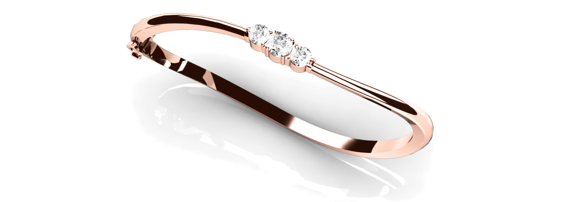 Round Diamond Rose Gold Bangle 0.75 Ct