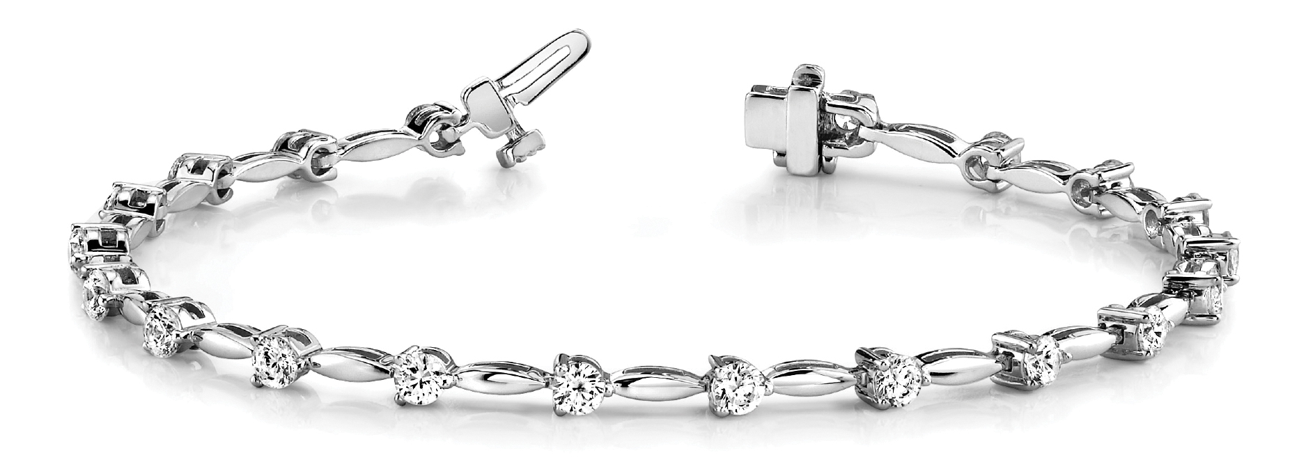 4.05 Carat Round Diamond Bar Link Platinum Bracelet