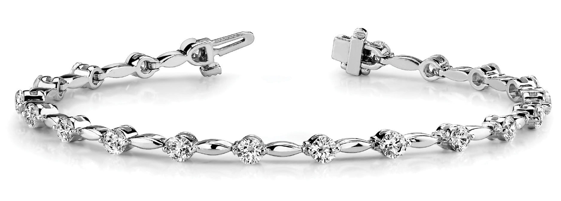 3.99 Carat Round Diamond Bar Link Platinum Bracelet