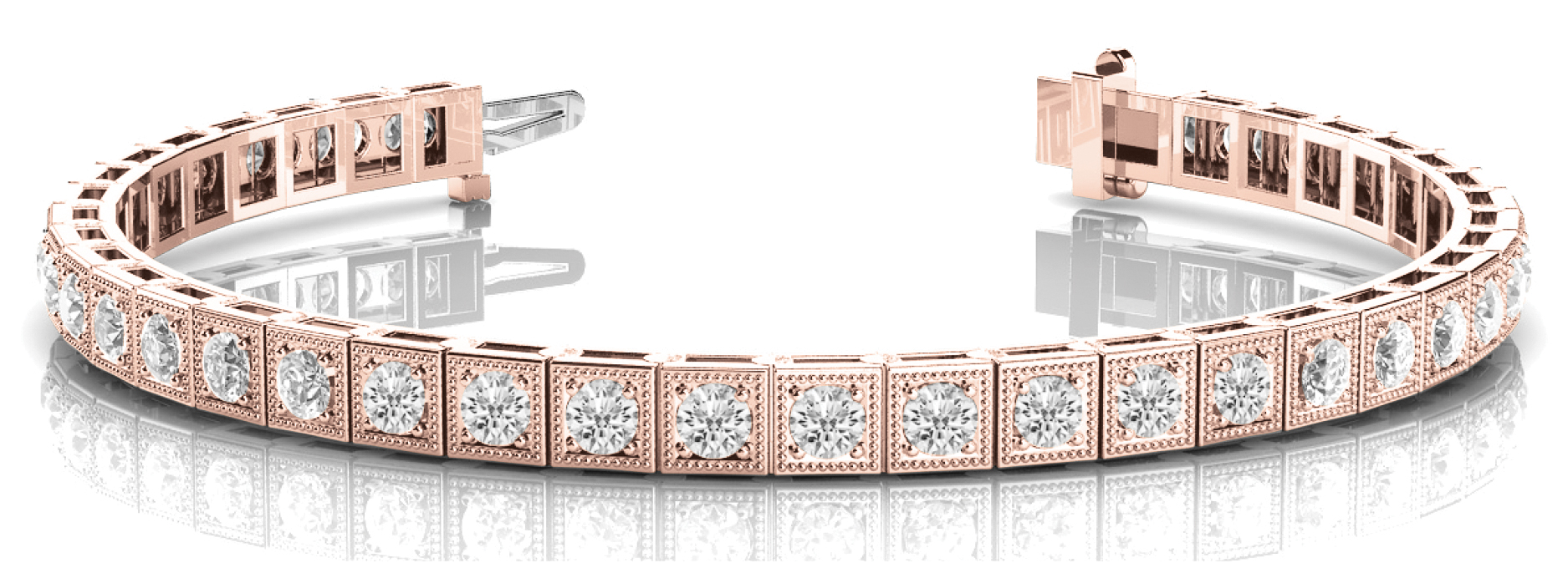 1.75 Carat Round Diamond Square Rose Gold Tennis Bracelet