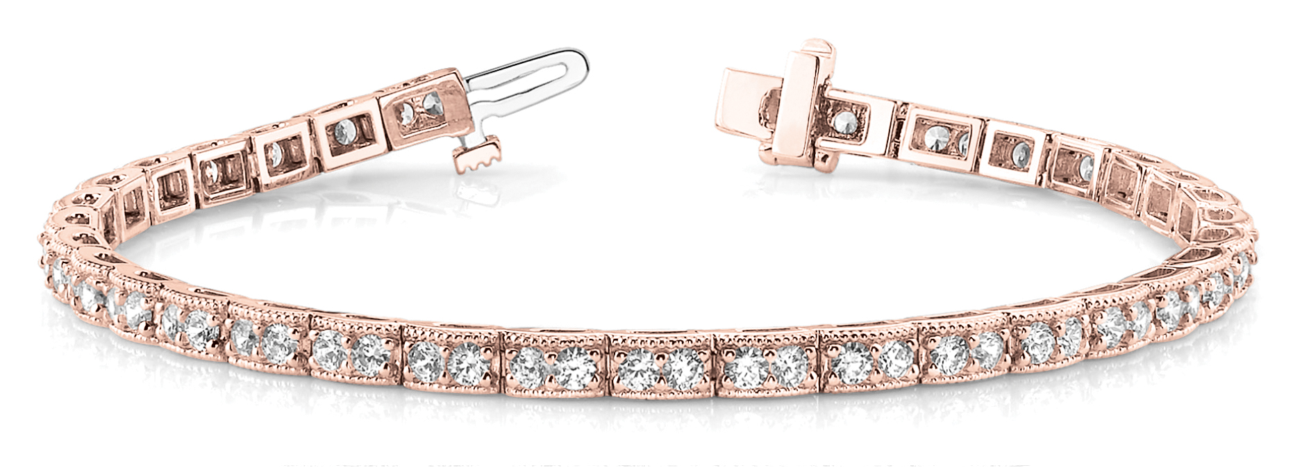 Petite Duo Round Diamond Bracelet 4 ct. Rose Gold