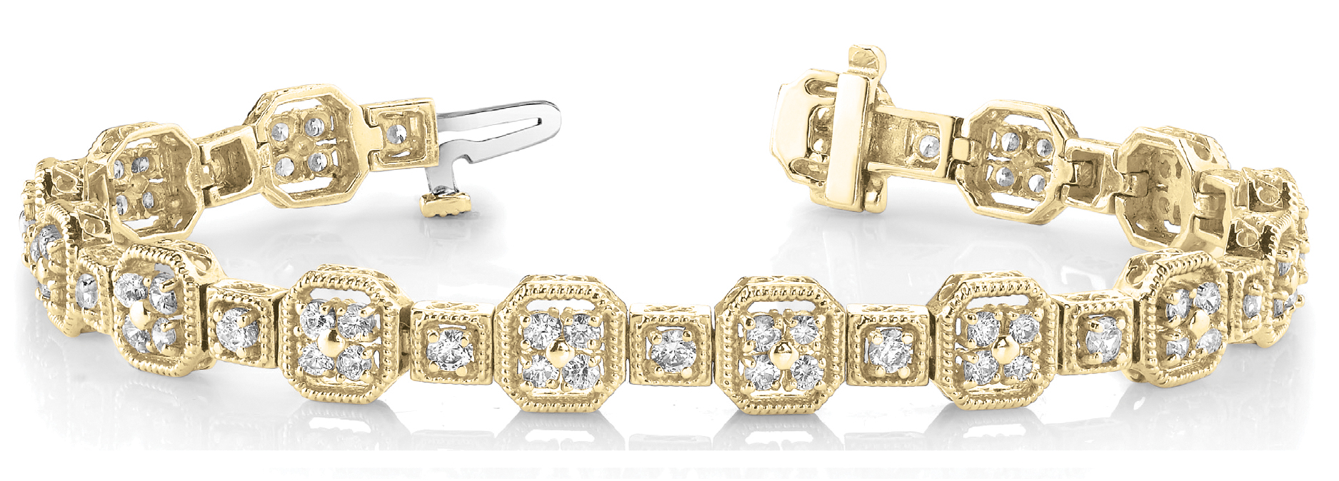 Octagon Rope Diamond Cluster Yellow Gold Bracelet 3 ct.