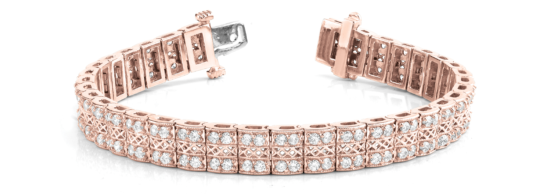 Multi Row Duo Round Diamond Filigree Bracelet 4.06 Ct. Rose Gold