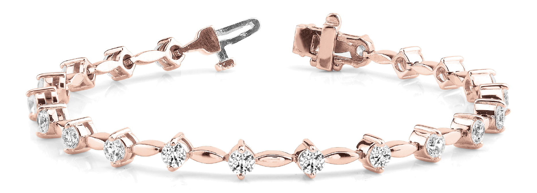3.15 Ct Round Diamond Bar Link Bracelet Rose Gold