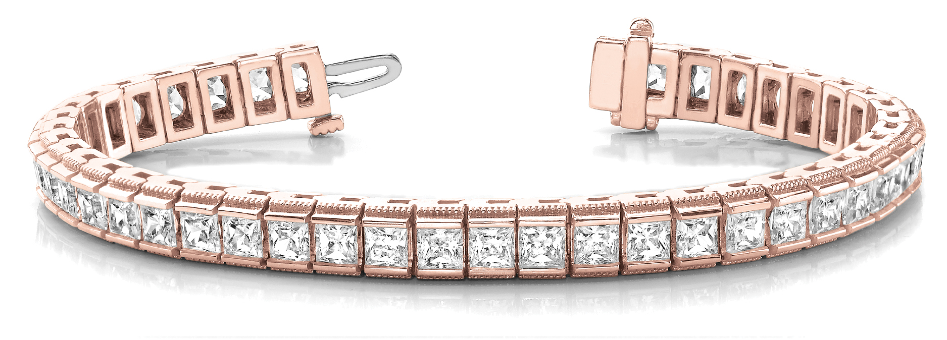 12.9 Carat Princess Diamond Channel Bracelet Rose Gold