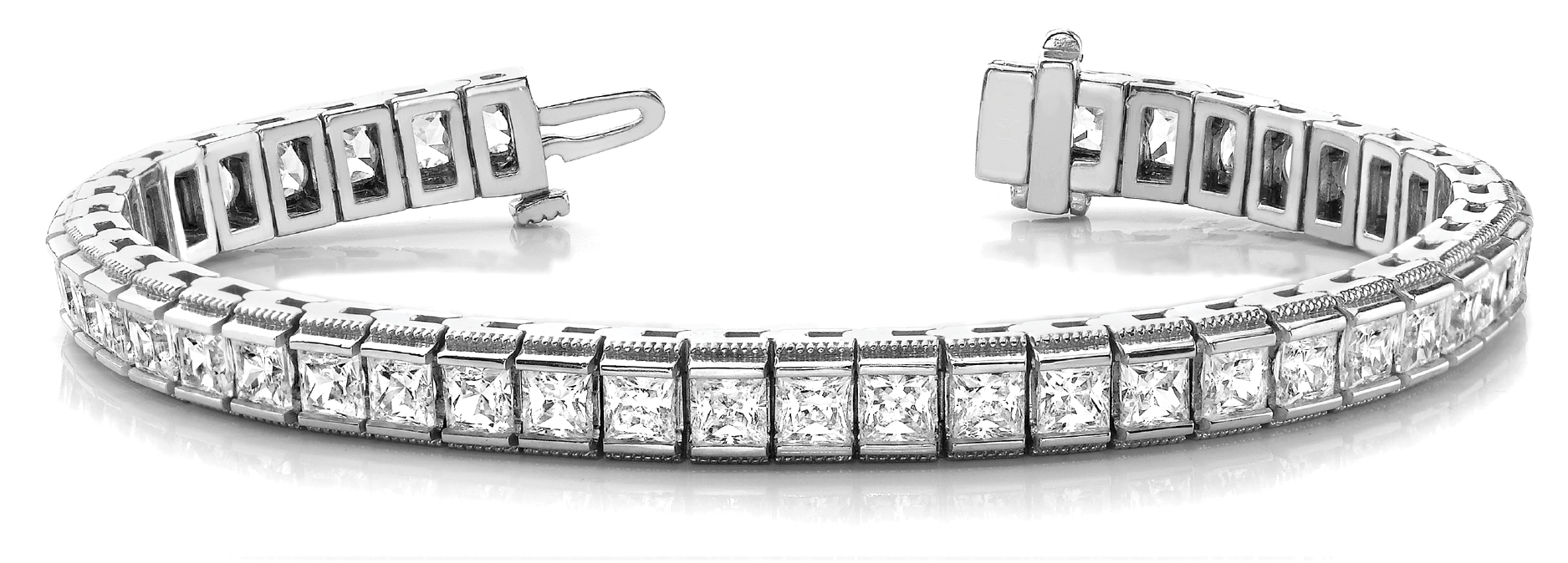 16.4 Carat Princess Diamond Channel Bracelet