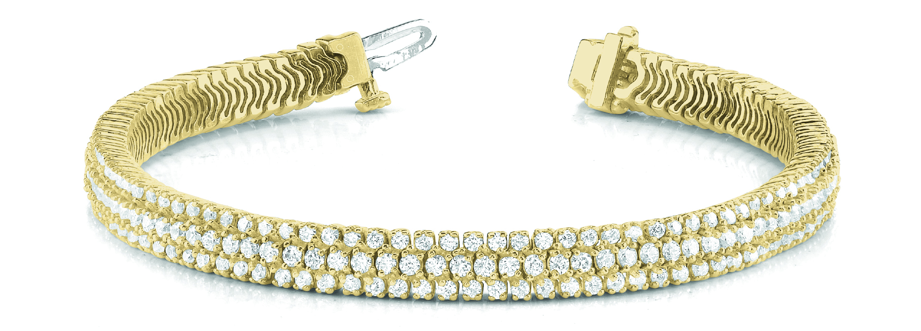 Multi Row Etoil Round Diamond Bracelet Yellow Gold 5 Ct.