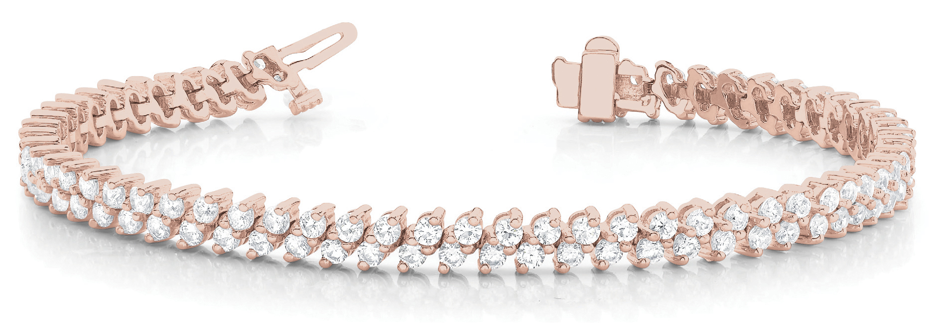 Diagonal Duo Round Diamond Bracelet 6 Ct. Rose Gold