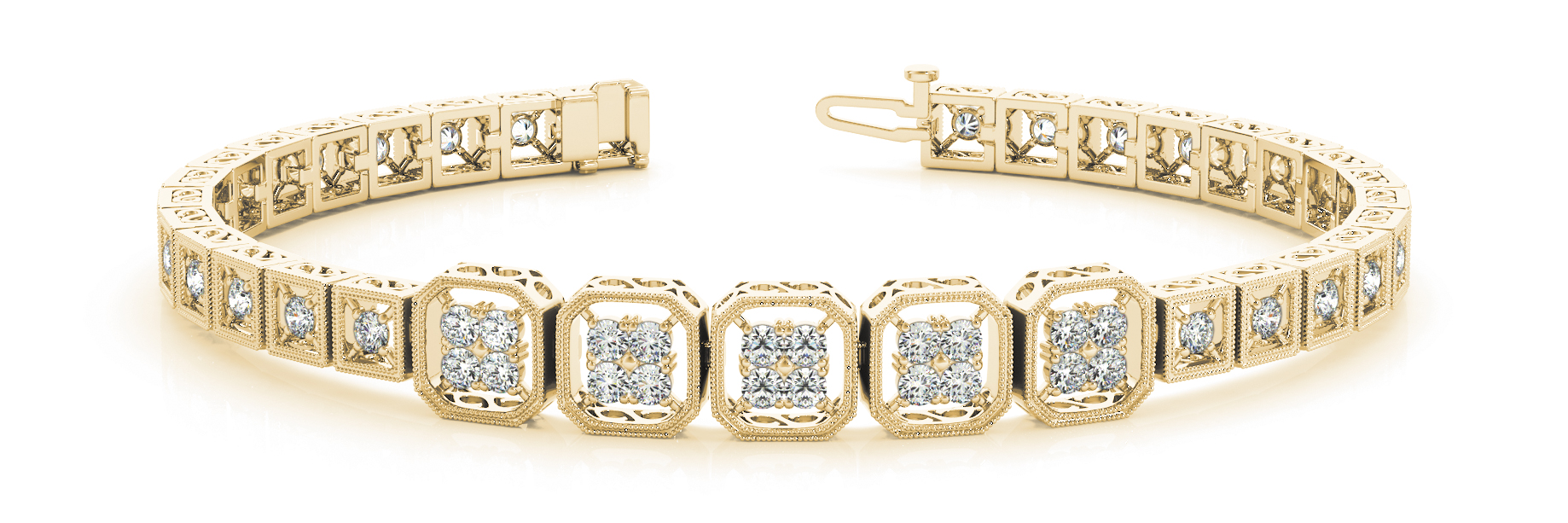 Quad Octagon Round Diamond Filigree Bracelet Yellow Gold 1.4 ct.