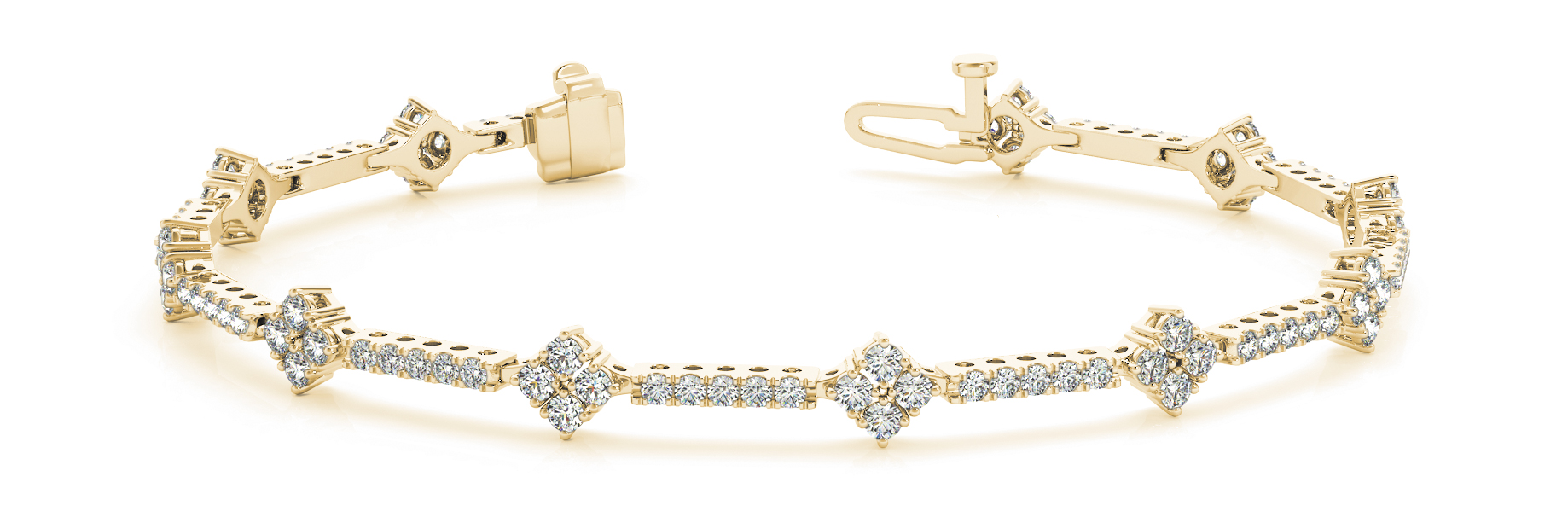 1.29 Carat Round Diamond Quad Bracelet Yellow Gold