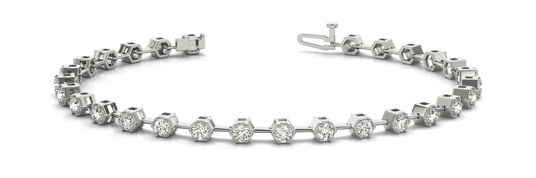 2.52 Carat Round Diamond Hexagon Bracelet