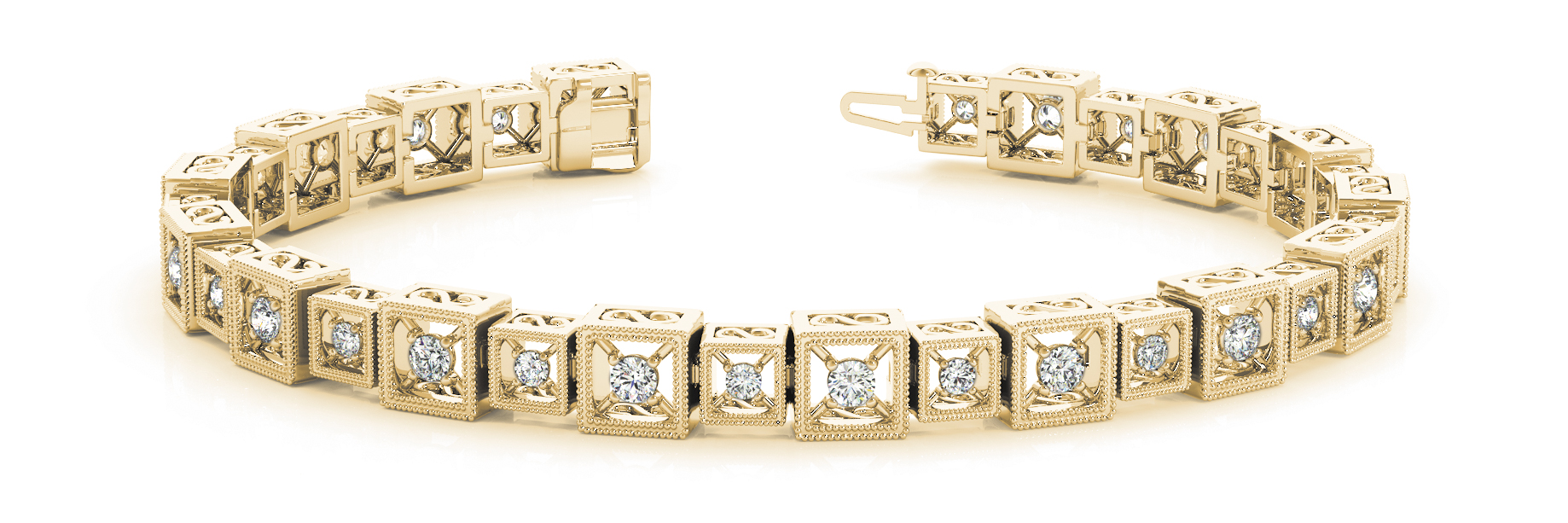 1.92 Carat Round Diamond Square Filigree Yellow Gold Bracelet