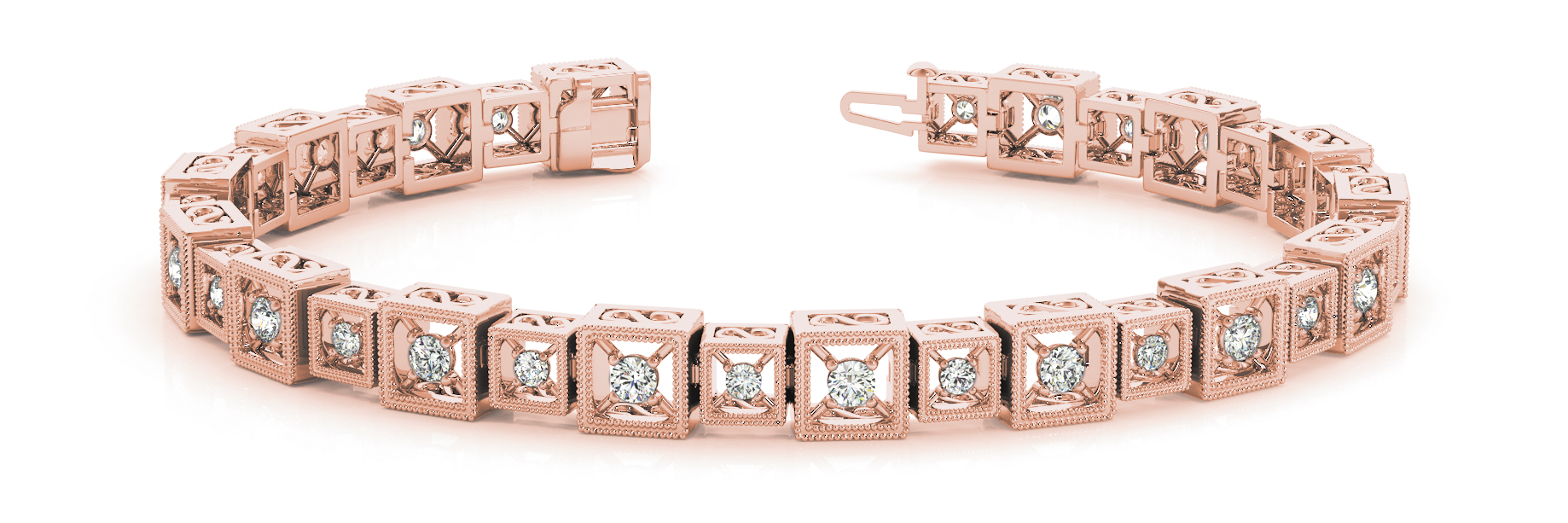 1.92 Carat Round Diamond Square Filigree Rose Gold Bracelet