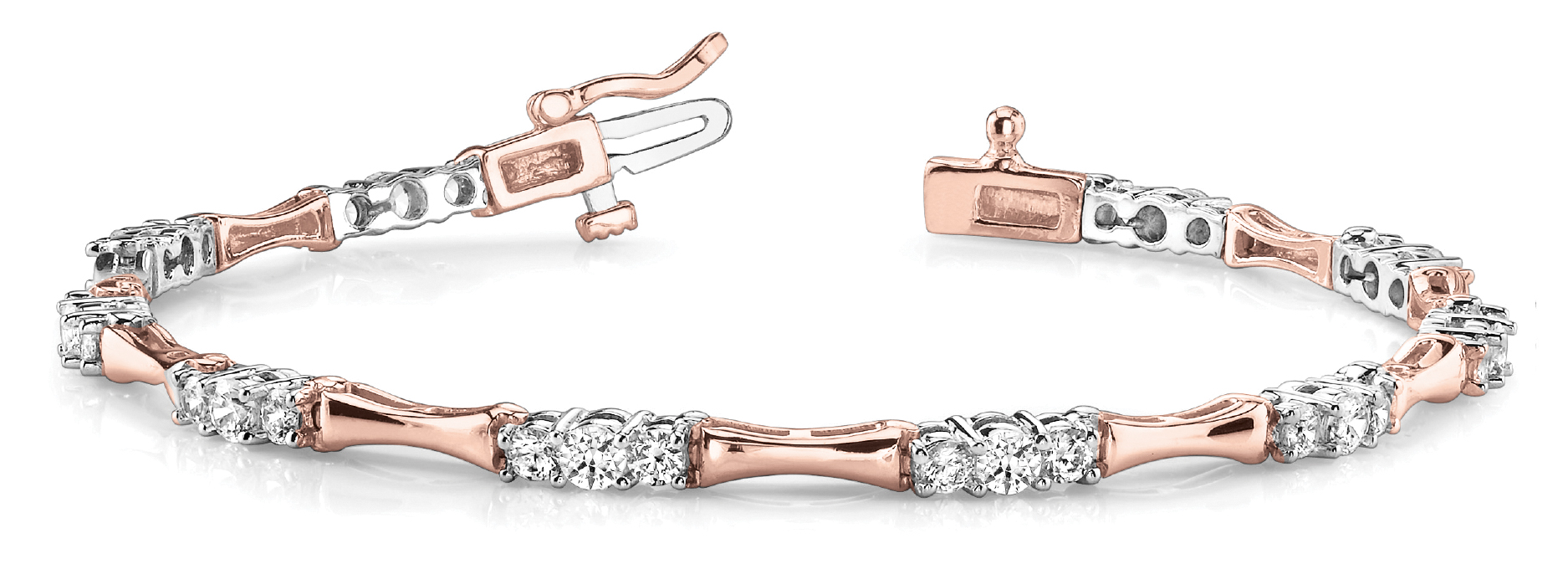 Three Stone Bar Link Bracelet 1.5 ct. Rose & White Gold
