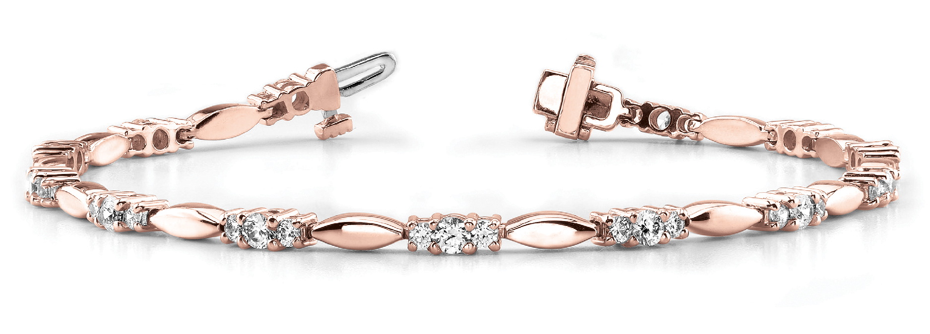 Three Stone Bar Link Bracelet 3.08 ct. Rose Gold