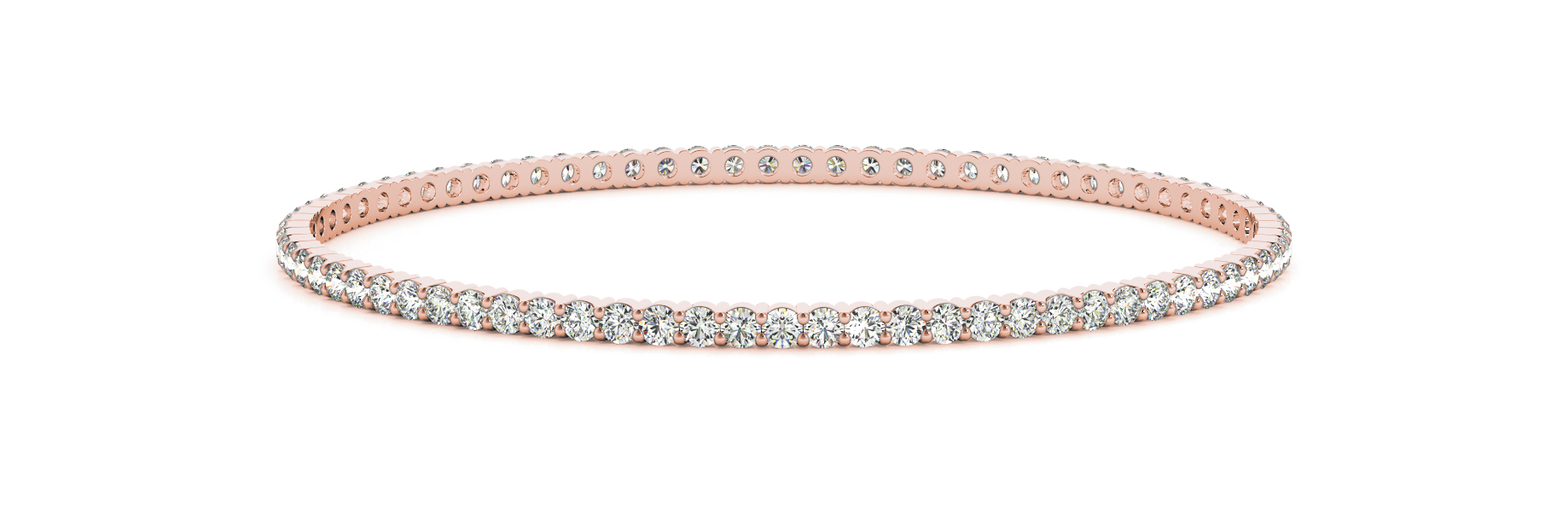 3.4 Carat Round Diamond Eternity Bangle in Rose Gold