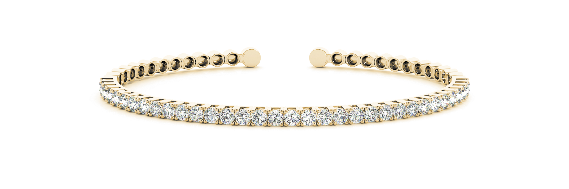 1.98 Carat Round Diamond Open Bangle in Yellow Gold