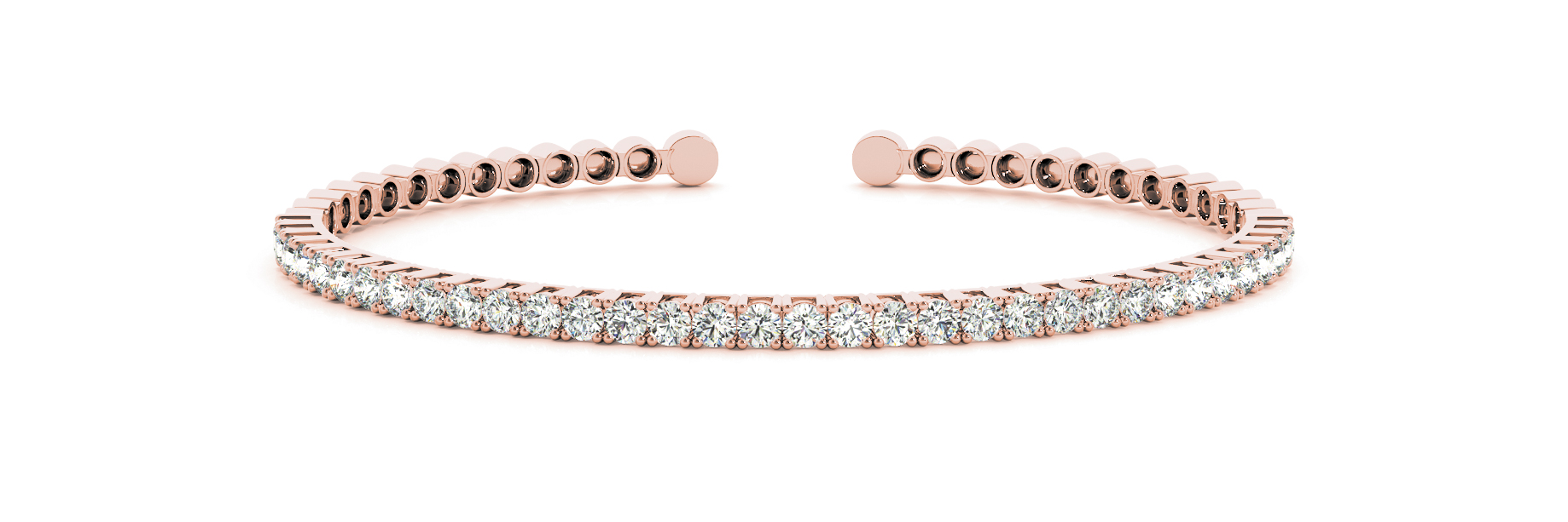 3 Carat Round Diamond Open Bangle in Rose Gold