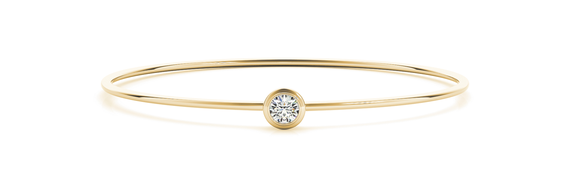 Round Diamond Solitaire Bezel Bangle Yellow Gold