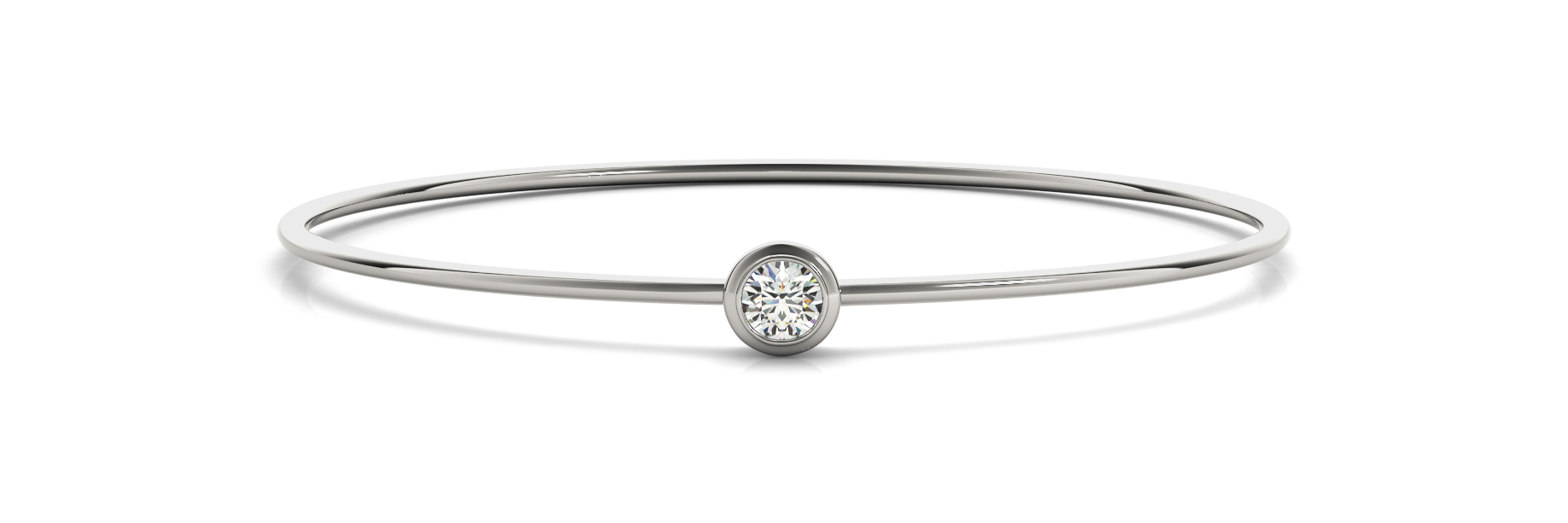 Round Diamond Solitaire Bezel Bangle