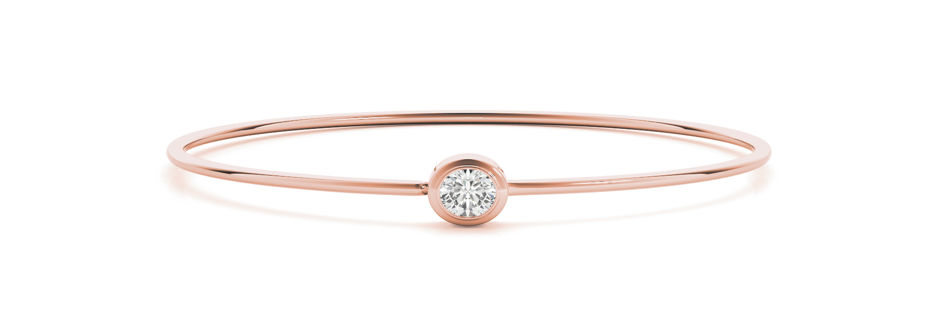 Oval Diamond Solitaire Bezel Bangle Rose Gold