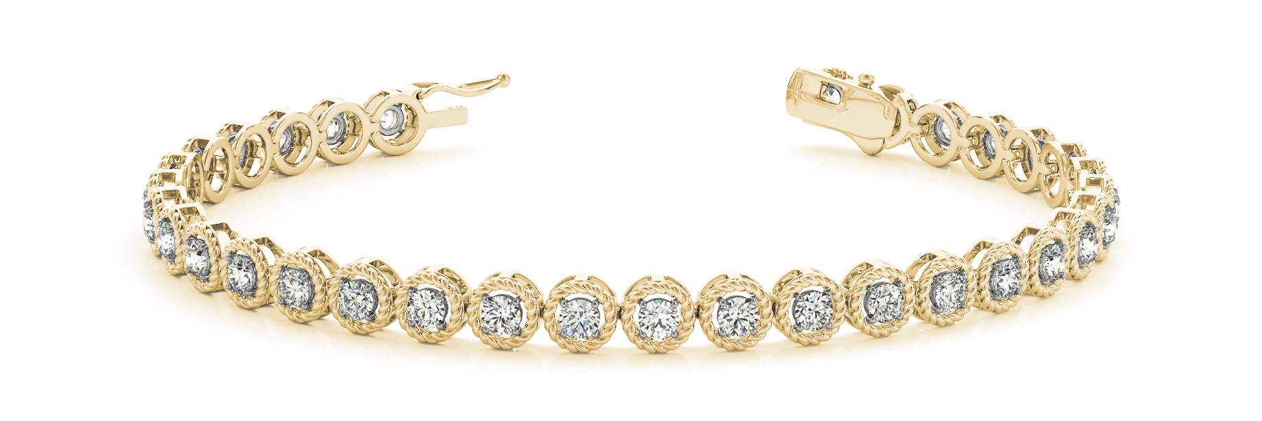 1.98 Carat Round Diamond Rope Bracelet Yellow Gold