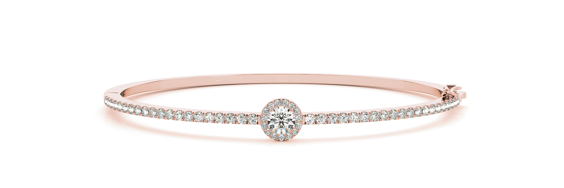 Round Diamond Center Stone Halo Rose Gold Bangle