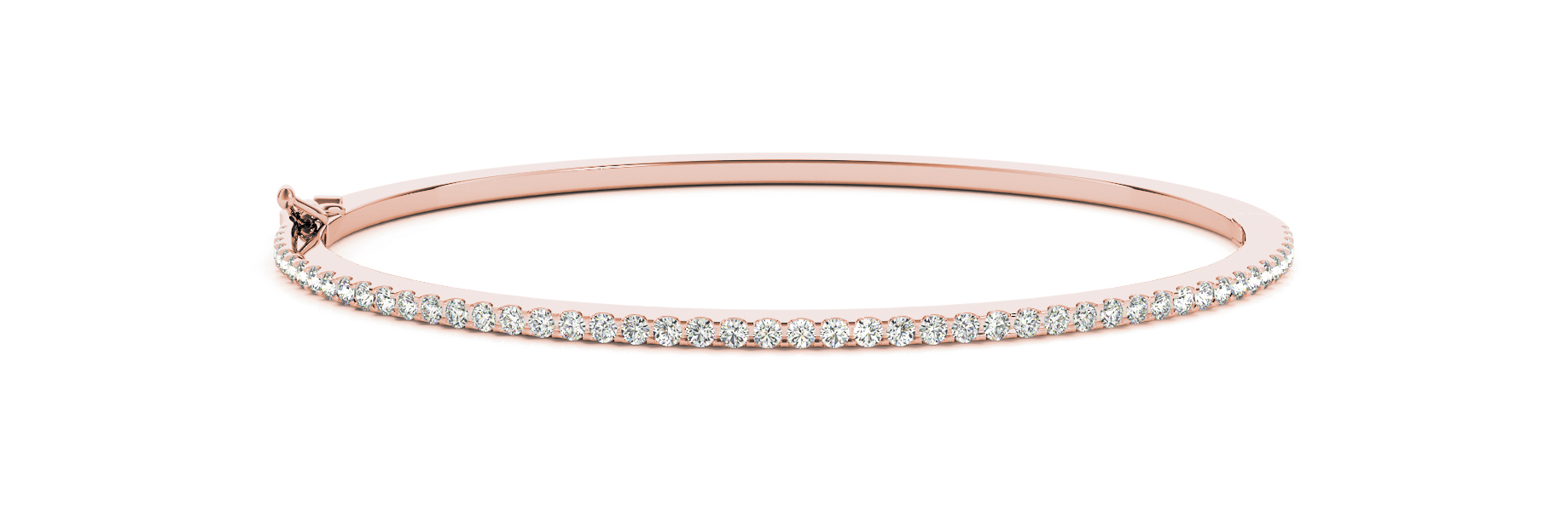 1.23 Carat Round Diamond Bangle in Rose Gold