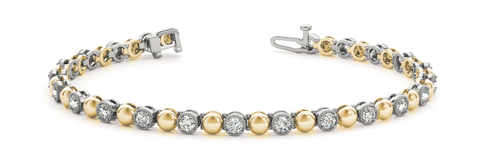 Round Diamond and Yellow Gold Bracelet 0.66 Carat