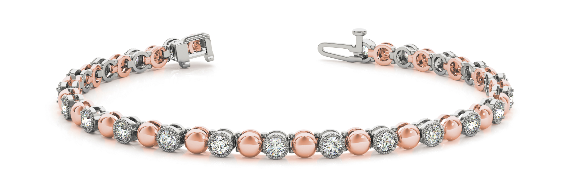 Round Diamond and Rose Gold Bracelet 0.66 Carat