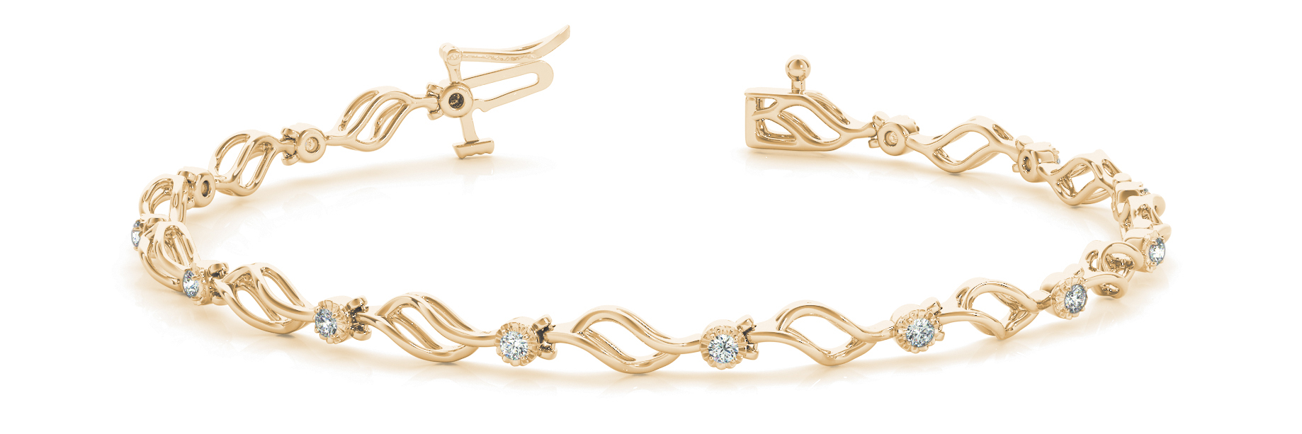 Flowing Leaves Round Diamond 0.21 Carat Yellow Gold Bracelet