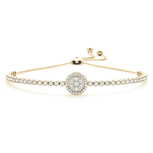 Double Halo Diamond Bracelet with Adjustable Band in Yellow Gold