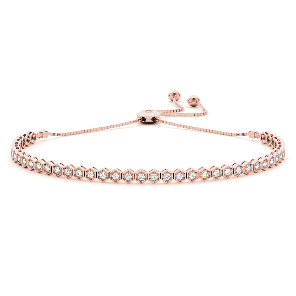 Hexagon Diamond Adjustable Bracelet in Rose Gold