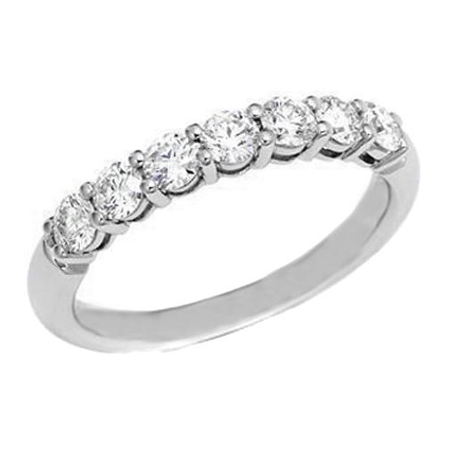 Seven Stone Round Diamond Platinum Wedding Band 0 70 Tcw