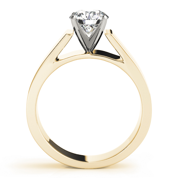 Wide Band Classic Solitaire Cathedral Engagement Ring in Yellow Gold